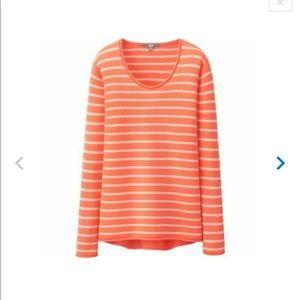 Uniqlo 100% cashmere sweater orange white  S